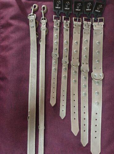 Lederhalsband und Leder-Leine Vintage genietet und genäht